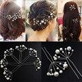 Women Wedding Handmade Hairwear Pearls Shape Hairsticks Hairpins Hair Jewelry Fashion Bride Head Accessories 2 Pieces/Pack