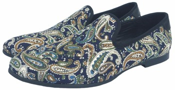 Journey West Blue Printing Men Loafers Casual Shoes Slip-on Smoking Slippers Men's Flats Size US 9