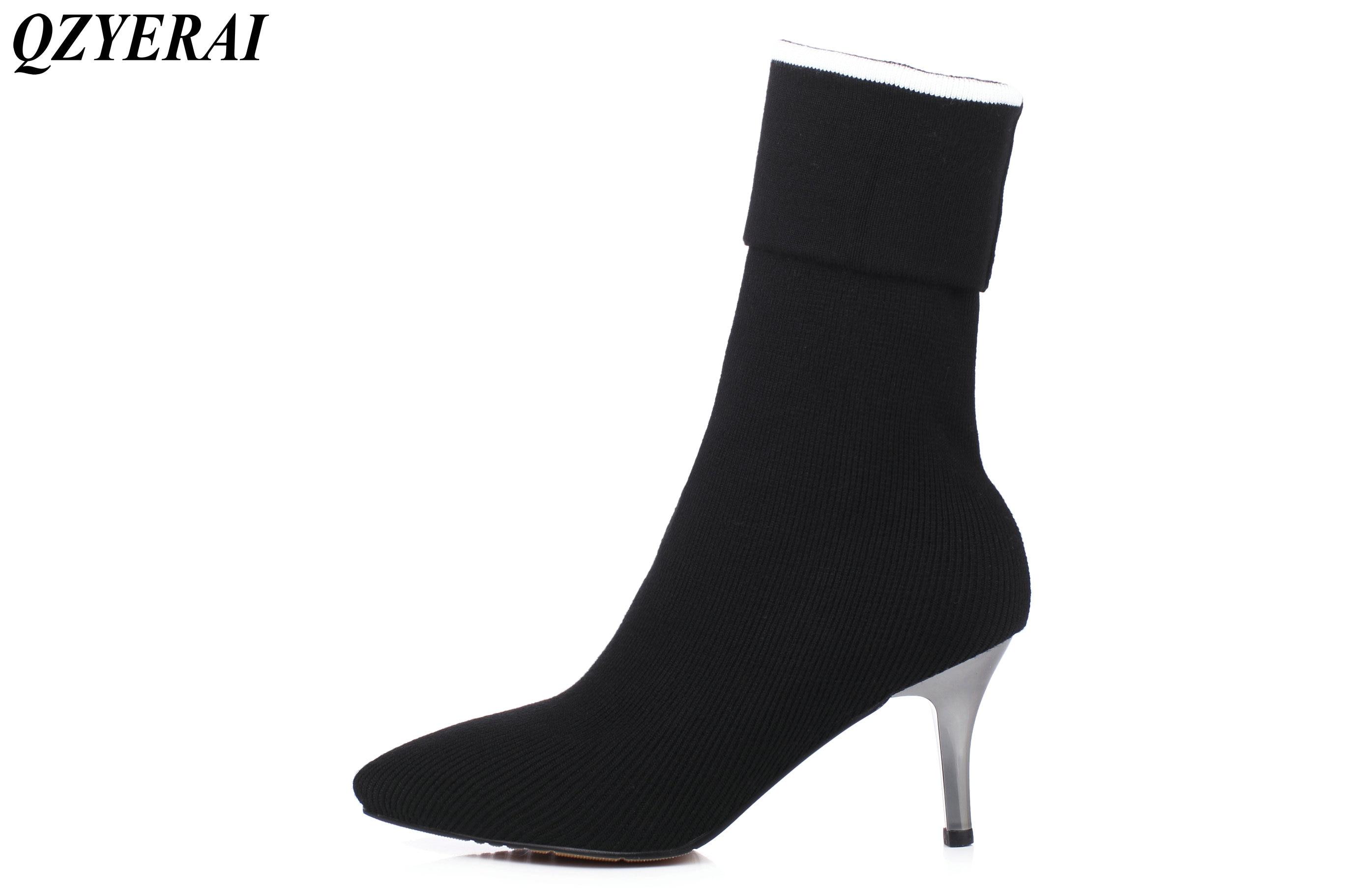 QZYERAI New arrivals European fashion new youth font b women b font medium boots casual font