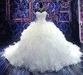 2017 Роскошный Собор/Царский Поезд Бальное платье Свадебное Платье 2016 Милая Вышивка Бисероплетение, босоножки, Органзы Vestido Де Noiva