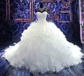 2017 Luxo Catedral/Royal Train vestido de Baile Vestido de Noiva 2016 Querida Bordado Beading Lace-up Organza Vestido De Noiva
