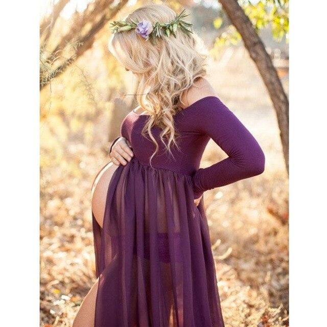 d090ad442930 Vestidos de maternidad para sesión fotográfica gasa vestido embarazo  accesorios fotografía Maxi vestidos mujeres embarazadas ropa 2018