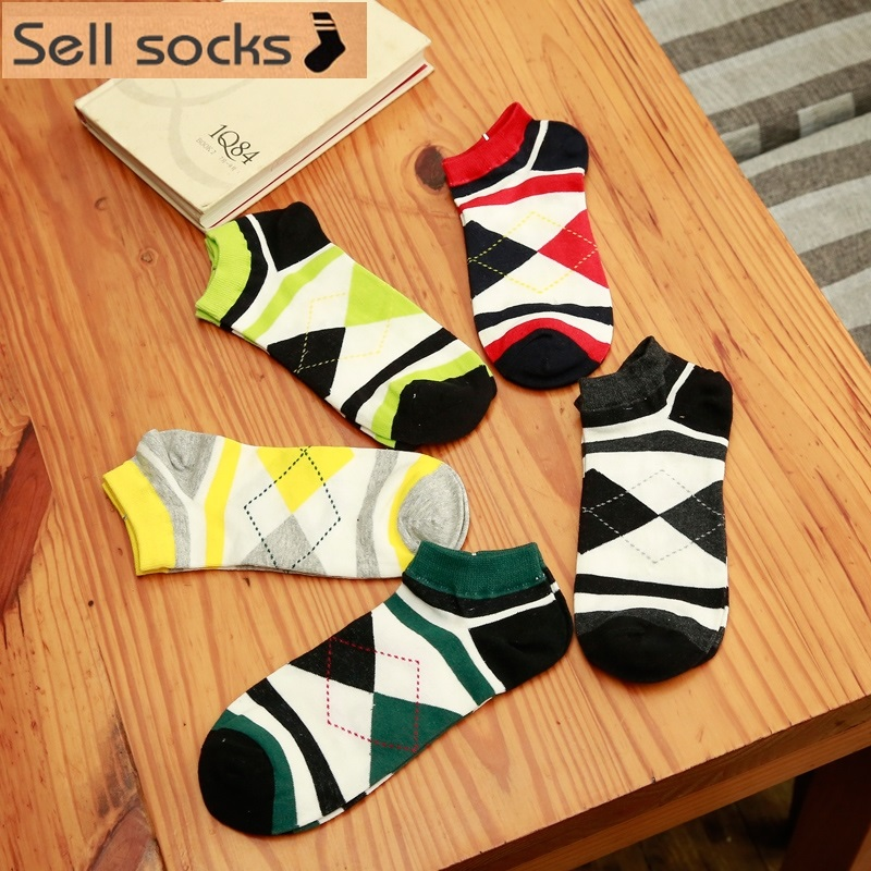 new summer black red yellow green rhombus man Casual ankle cotton socks men boat sock slippers harajuku EUR39-44