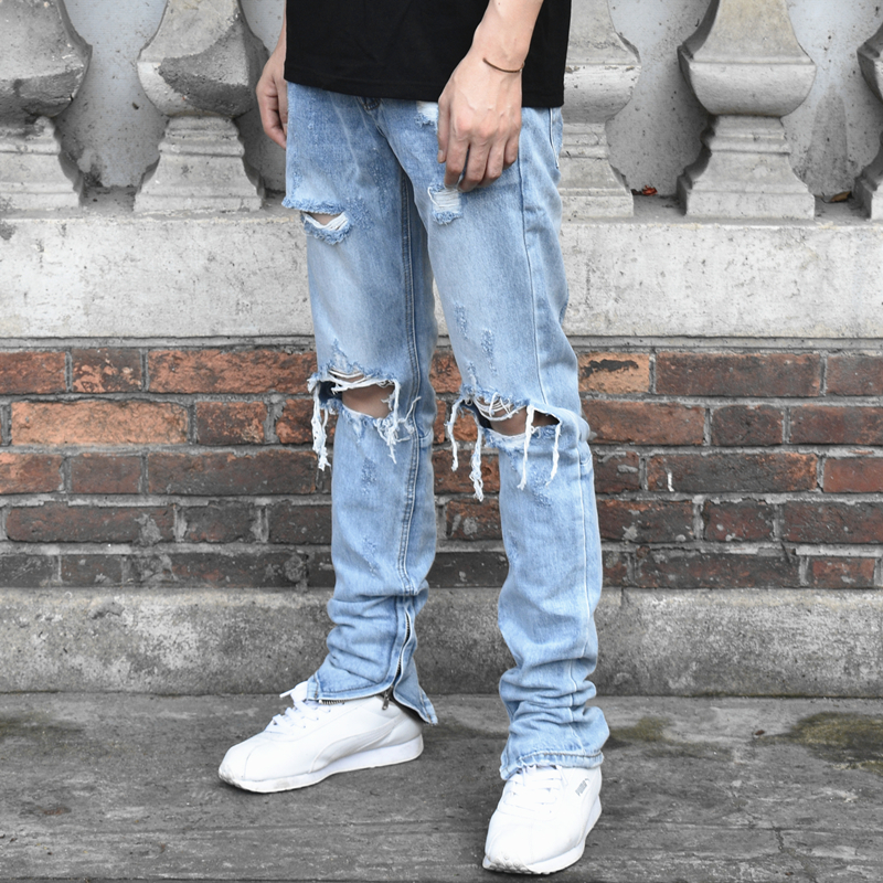 Men fashion Justin Bieber Jeans FOD Fear of God Crush Knee hole Hip hop jean Kanye West Long biker Blue Jeans feet IACB Store