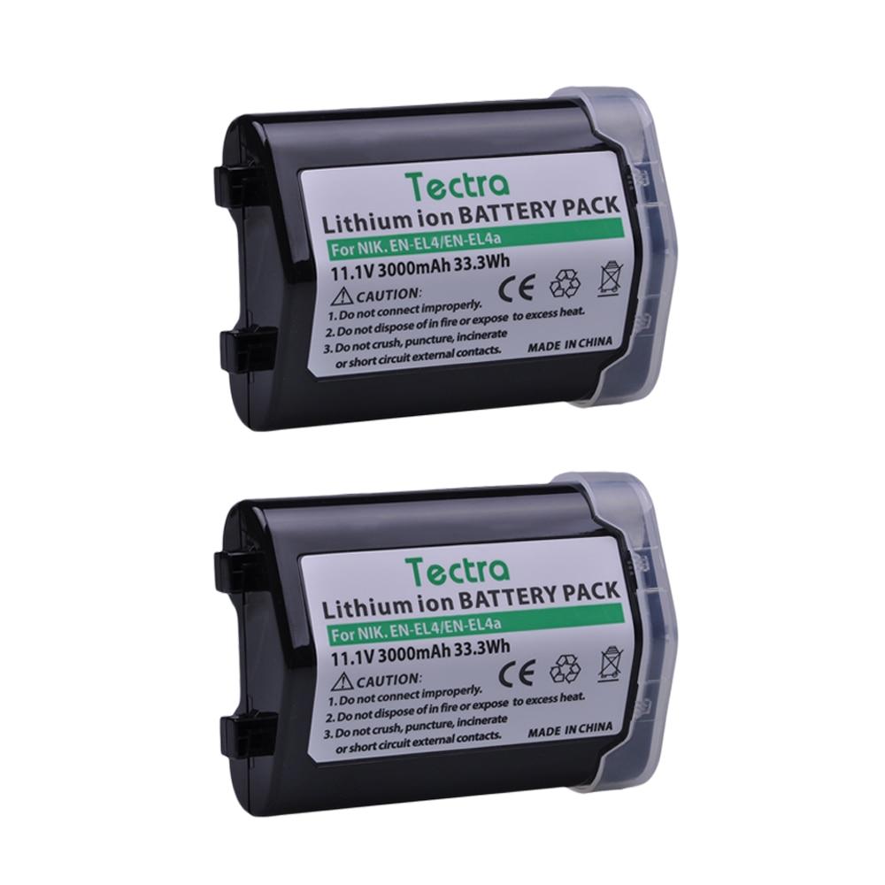 Tectra 2PCS 3000mAh EN-EL4 EN-EL4A Battery For Nikon D2Z D2H D2Hs D2X D2Xs D3 D3S F6 D3X ENEL4 ENEL4A Camera Battery