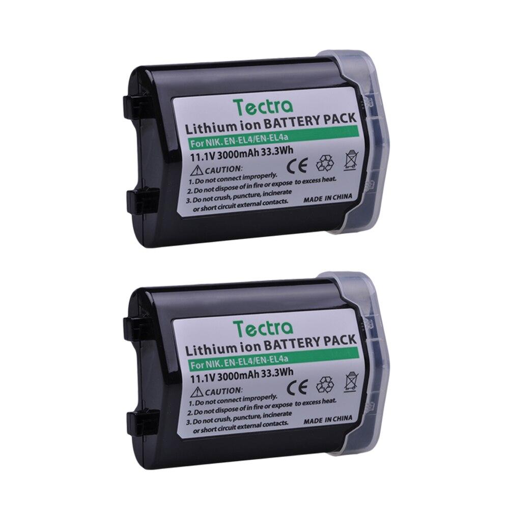 Tectra 2 pièces 3000 mAh EN-EL4 EN-EL4A Batterie pour Nikon D2Z D2H D2Hs D2X D2Xs D3 D3S F6 D3X ENEL4 ENEL4A Caméra Batterie