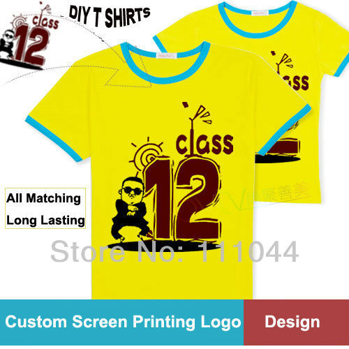 66c13d73fe9 Summer Class Shirts Personalized Customize T-shirt DIY Class Term T-shirt  Short-sleeve Screen Printing T shirts Contrast Colors