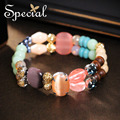 Special New Fashion Natural Stones Bracelets & Bangles Ceramic Multi-layer Bracelets Turquoise Jewelry Gifts for Women S1606C
