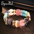 Special nova moda pedras naturais pulseiras & bangles multi-camada de cerâmica pulseiras turquesa jóias presentes para mulheres s1606c