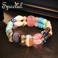 Special nueva moda piedras naturales pulseras y brazaletes de cerámica de múltiples capas de las pulseras de la turquesa joyería regalos para las mujeres s1606c