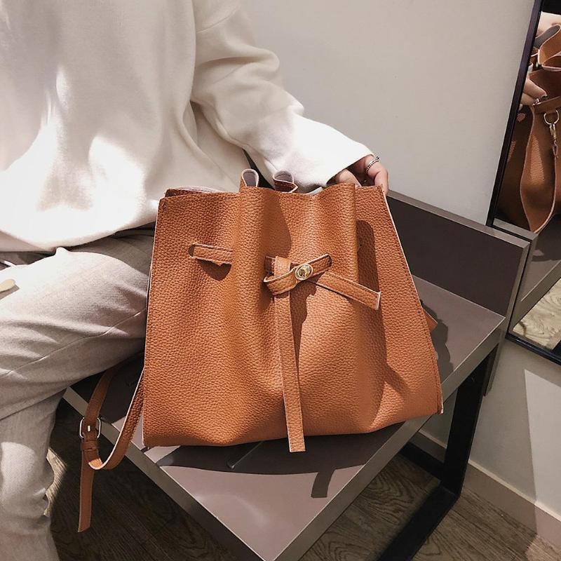 2Pcs/Set Women Drawstring Bucket Bags Solid Color Crossbody PU Leather Shoulder Bag Handbags
