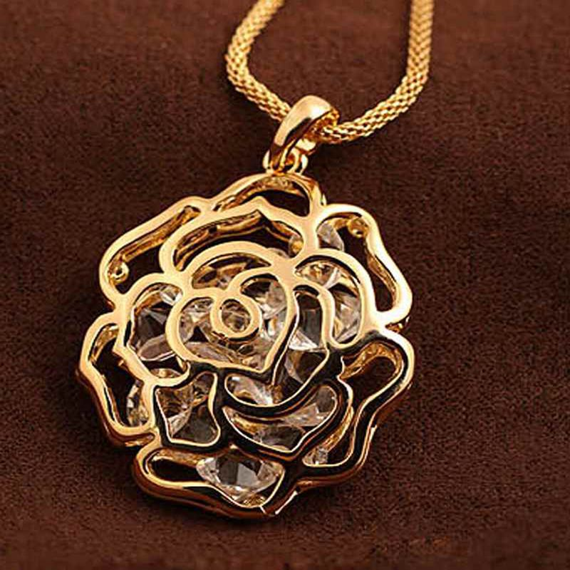 Длинная цепочка Леди Девушка Подвески Изготовление ювелирных изделий для Для женщин выдалбливают розы горный хрусталь кулон Цепочки и ожерелья KUNIU
