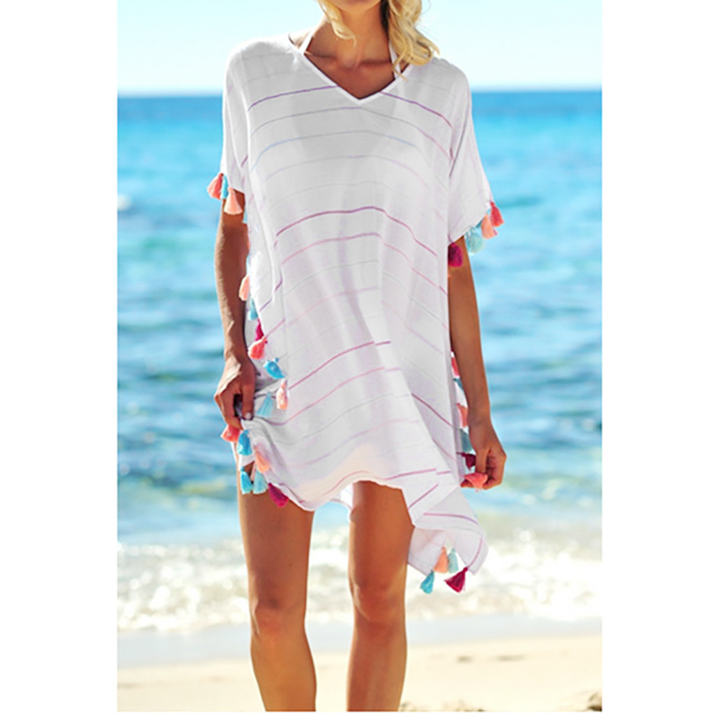 2019 Women Perspective Striped Beach Dress Sexy Tassel Patchwork Swimsuit Bikini Cover Up Kaftan Beach Pareo Tunic Beachwear