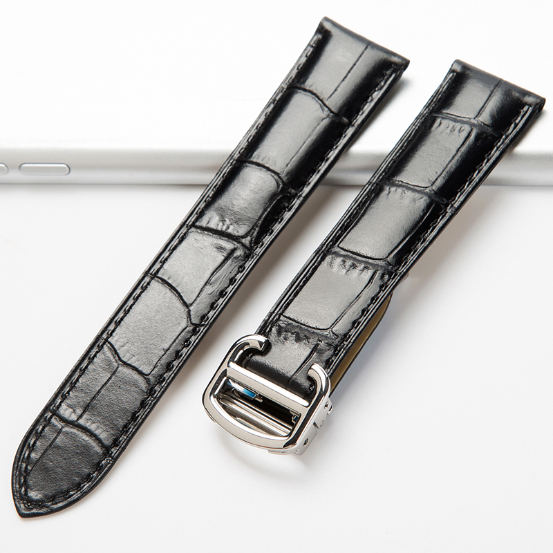 OTMENG Watch Band For Cartier Tank Solo W6700255 Genuine Leather Watch Strap 20 22 23 24