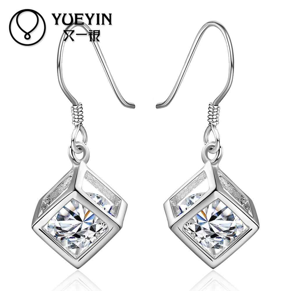 New Fashion Silver Dangle Earrings for Women Wedding Jewelry Long Earrings Zircon Square auskarai Big White Crystal Earring E583