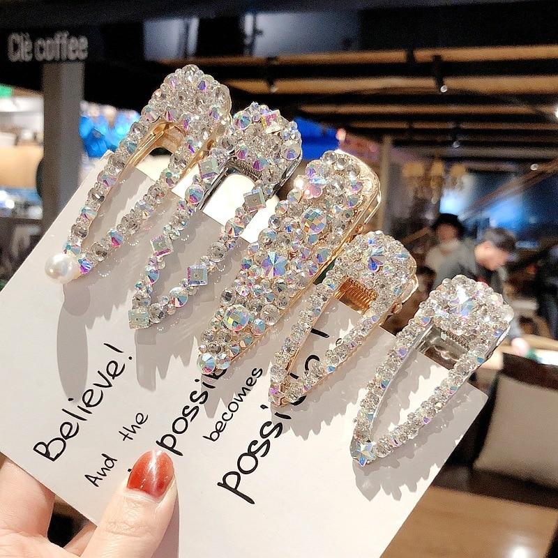 Korean Hair Clips for Women Fashion Imitation Pearl Rhinestone Hairpins Barrette   Headwear   Bling Crystal Girls Hair Accessories