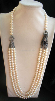 3rows  freshwater pearl  near round 8-9mm necklace 28-30inch and black dragon clasp wholesale FPPJ