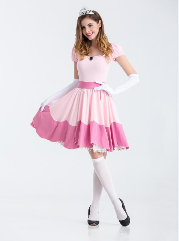 Newest Deluxe Adult Princess Peach Costume Women Super Mario Brothers Party Cosplay Halloween Costumes For Women Pink Dress