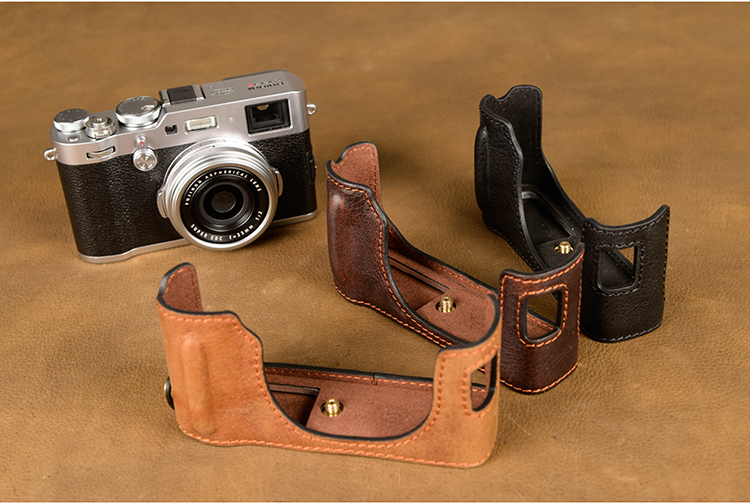 AYdgcam Brand Handmade Genuine Leather Camera case For Fujifilm X100F X100-F Camera Bag Half Cover Vintage Case