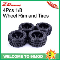 4Pcs ZD Racing 150mm Wheel Rim and Tires 17mm Hex Hub for Traxxas HSP 1/8 Monster Bigfoot Truck Off Road HPI RC Car