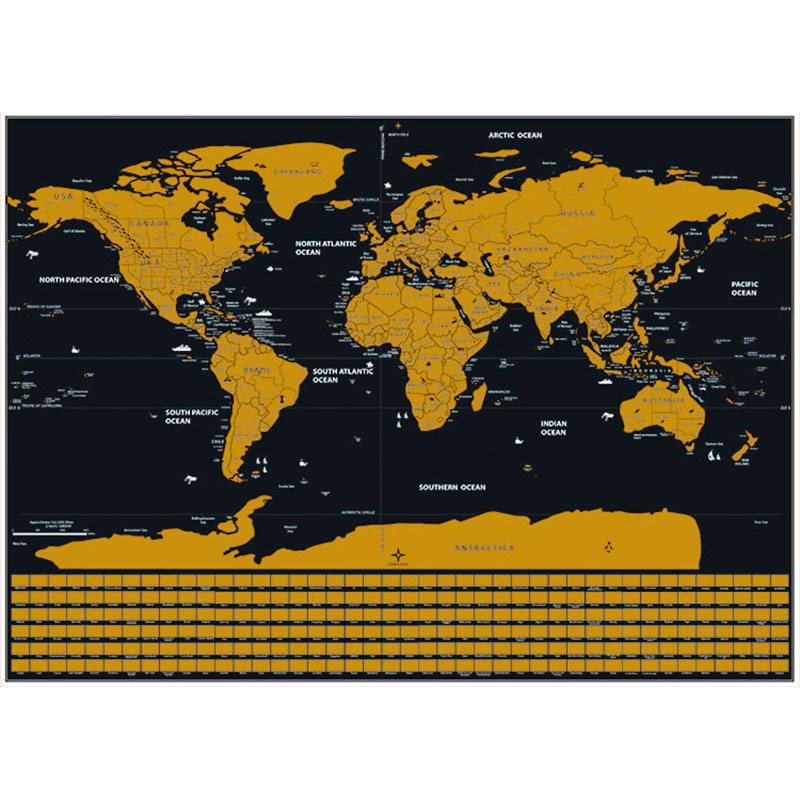 Scratch World Map Creative Travel USA Canada State Line Flag Black Bottom