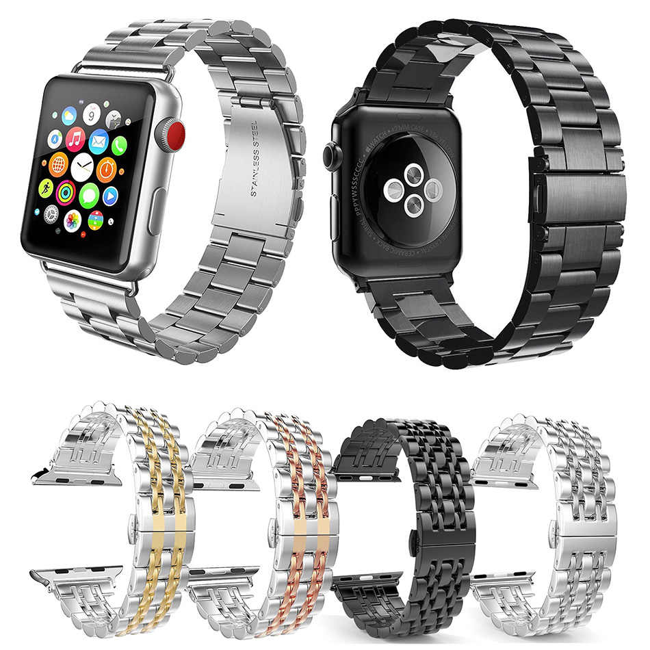 Correa de repuesto de Metal de acero inoxidable 44mm con hebilla de mariposa para Apple Watch Series 5 4 3 2 1 Sport y Edición 38mm 42mm