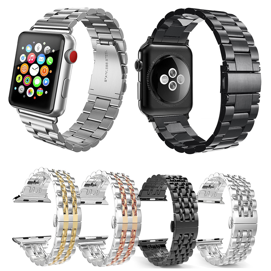 FOHUAS Stainless Steel Metal Replacement Band with Butterfly Buckle for Apple Watch Series 3 2 1 Sport and Edition 38mm 42mm