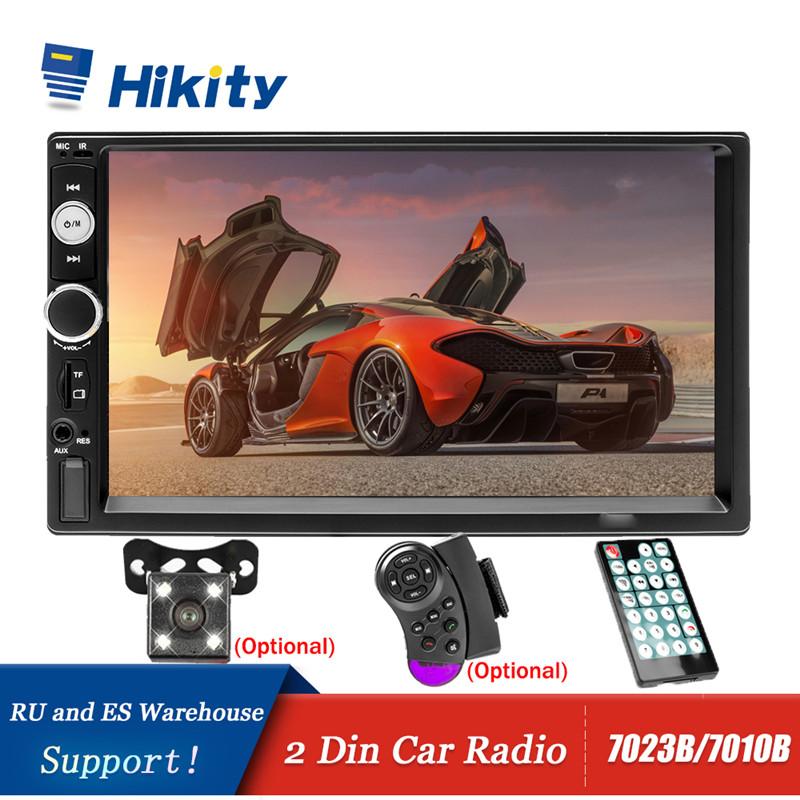 Hikity Car Radio Player Mirror Link autoradio 2 din 7'' LCD Touch Screen Car Stereo MP5 Bluetooth auto stereo Rear View Camera image
