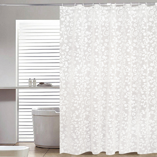 Simple Bath Curtain White Geometric Printed Protection PEVA Shower ...