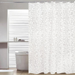 Paan Bath Curtain White Printed Shower Curtains Waterproof