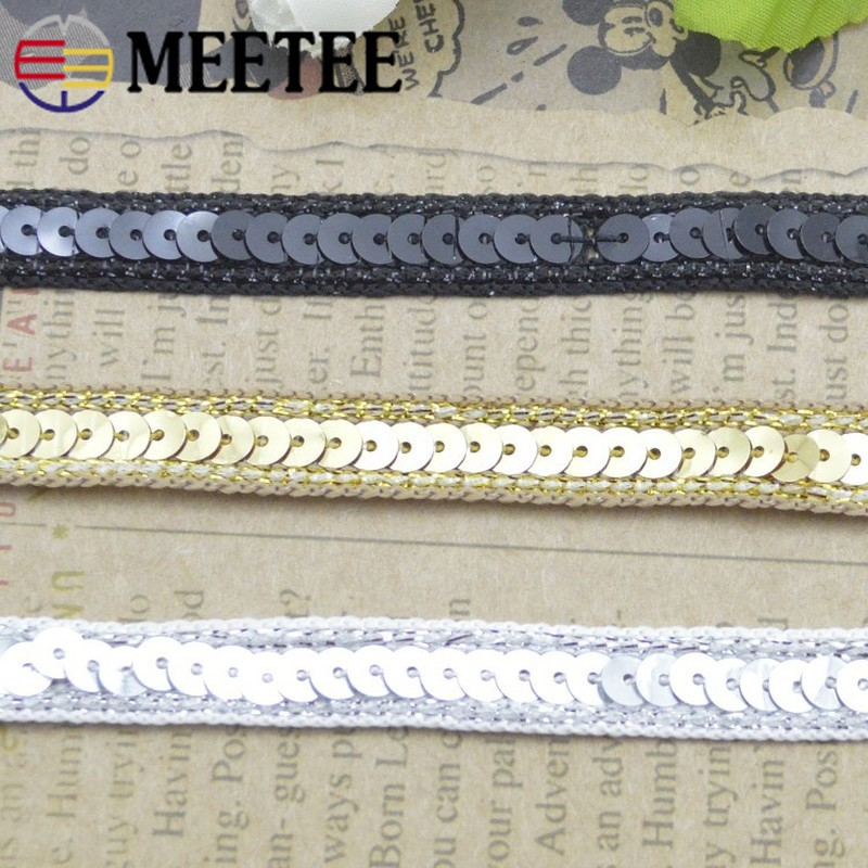 20Meter 1cm embellished Applique sequins lace trim ribbon sequin fabric for diy Headwear Home Wedding Decoration C6 5 in Ribbons from Home Garden
