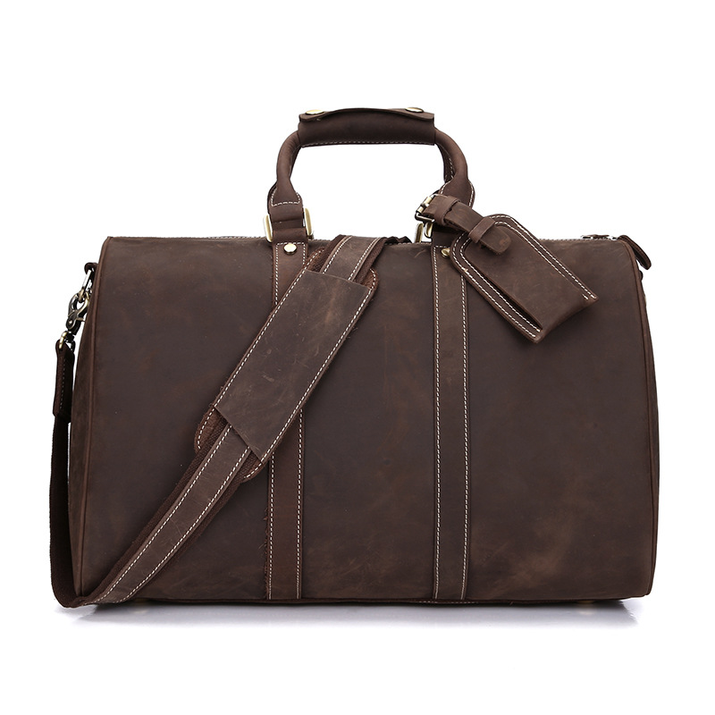 Cow Leather Mens Bag Large Capacity Cowhide Travel Bag Fashion Business Travel Men Bag Retro Portable Handbag Genuine Leather