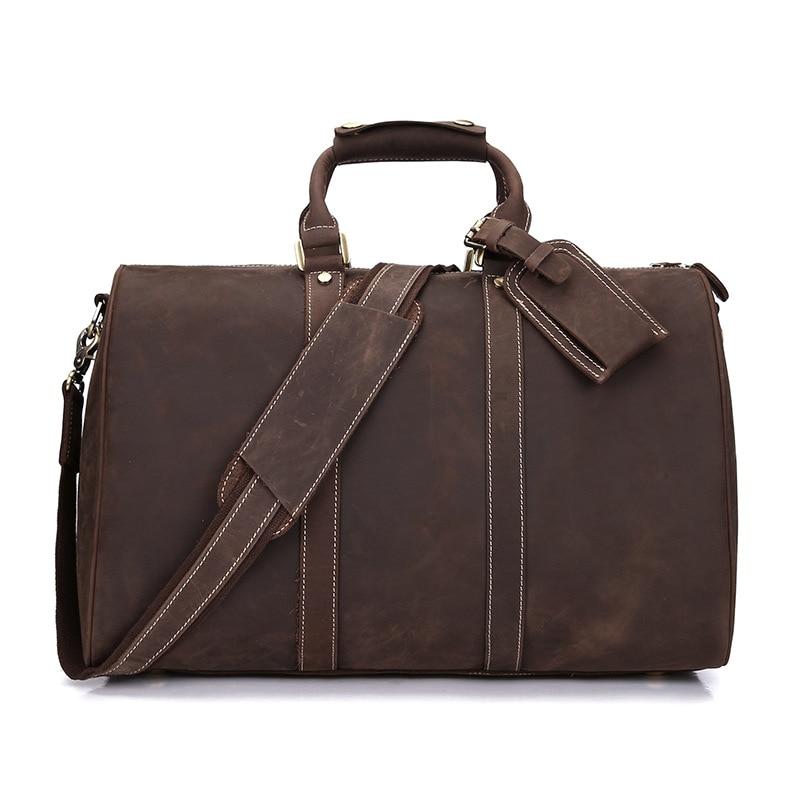 Cow Leather Mens Bag Large Capacity Cowhide Travel Bag Fashion Business Travel Men Bag Retro Portable Handbag Genuine Leather