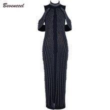 4b42cb9ebb41 2019 Chic Nero Bianco Senza Maniche In Rilievo Sequins Del Vestito Delle  Donne Del Partito di Sera del vestito A Collo Alto Sexy.