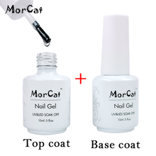 MorCat No Wipe Top Coat Primer Base Coat Gel Nail Polish Soak Off Gel Varnish UV LED Nail Gel Lacquer Vernis Semi Permanent UV