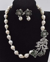 freshwater pearl white reborn keshi baroque necklace earrings +flower pendant 19inch FPPJ wholesale beads nature