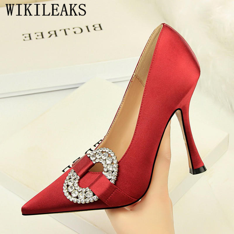 Italian Brand Women Heels 2018 Sexy Pumps Women Shoes Stiletto Shoes Woman Party High Heels Rhinestone Pointed Toe Wedding Shoes women s sexy stiletto heels w rivet party shoes khaki golden 36