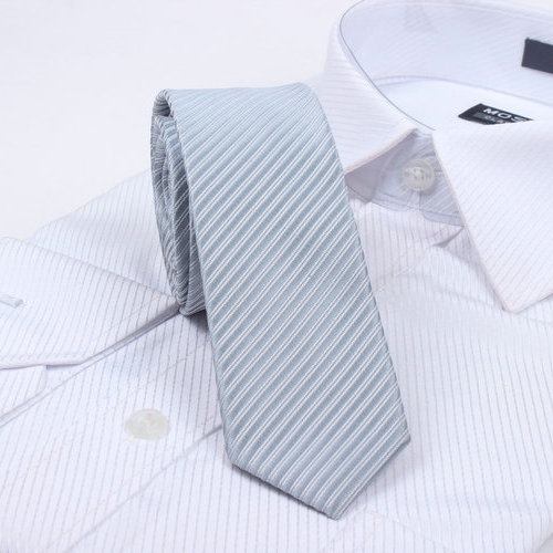 Free Shipping Cheap Slanting 5cm solid color stripe tie british style tie slanting Light gray stripe series