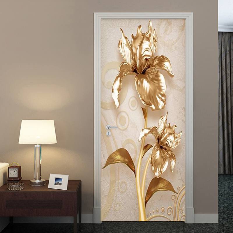 PVC Self-Adhesive Waterproof Door Sticker Wallpaper 3D Luxury Golden Flower Murals European Style Living Room Home Decor Sticker