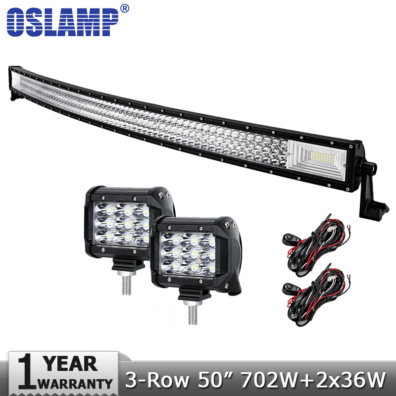 Oslamp 50inch 702W Combo 3 Row Curved Offroad LED Light Bar 2x36W Spot Flood Beam Led