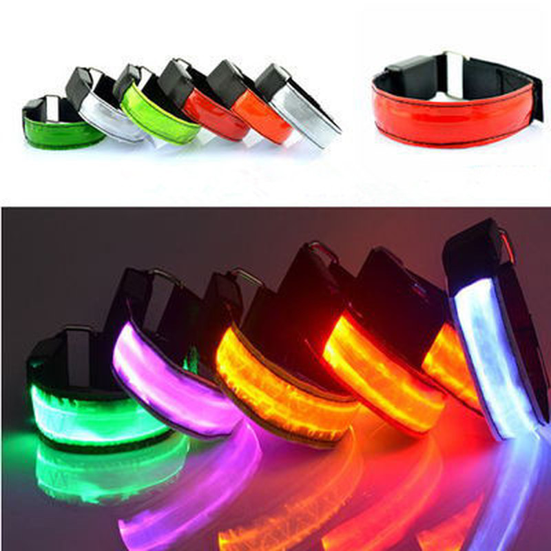 1PC Running Light Sports LED Wristbands Adjustable Glowing Bracelets For Runners Joggers Cyclists Riding Safety Bike Bicycle
