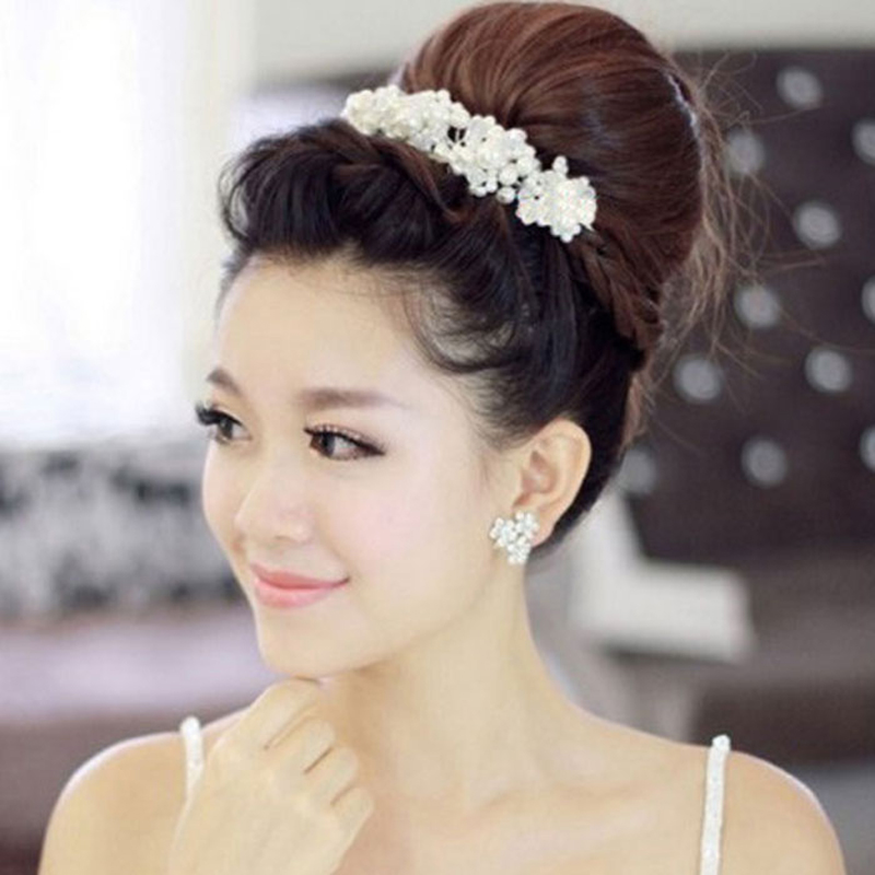 Vopregezi 1pcs Flowers Pearl Hairpins Beauty Headwear for Women Hair Accessories Hair Clips with Rhinestones Hair Staiying Tools