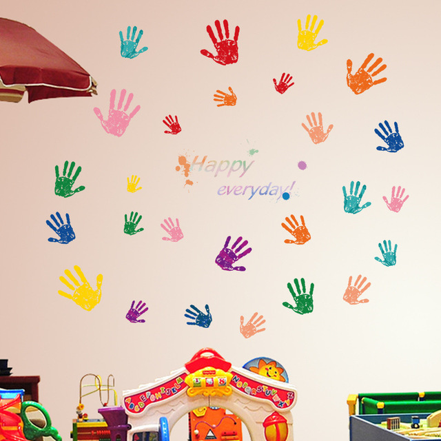 Colorful Parent Child Hand Handprint Baby Kids Room Wall Sticker Poster  Home Decoration Removable DIY