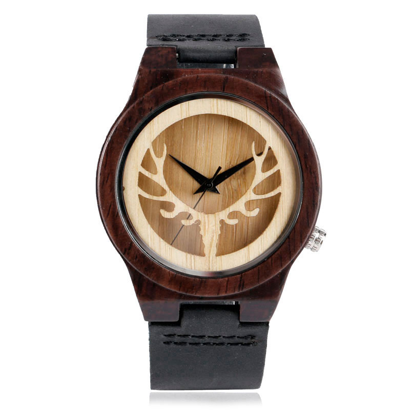 Hot Nature Elk Deer Head Sandalwood Handmade Wood Watch Men Women Trendy Genuine Leather Band Strap Wristwatch