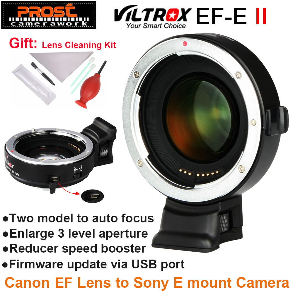Viltrox EF-E II Auto Focus Reducer Speed Booster Lens Adapter for Canon EF Lens to Sony NEX E Camera A9 A7 A7R A7SII A6500 NEX-7 free shipping viltrox ef nex auto focus af mount adapter for sony nex camera nex 3 nex 5 nex 7 to canon ef ef s lens