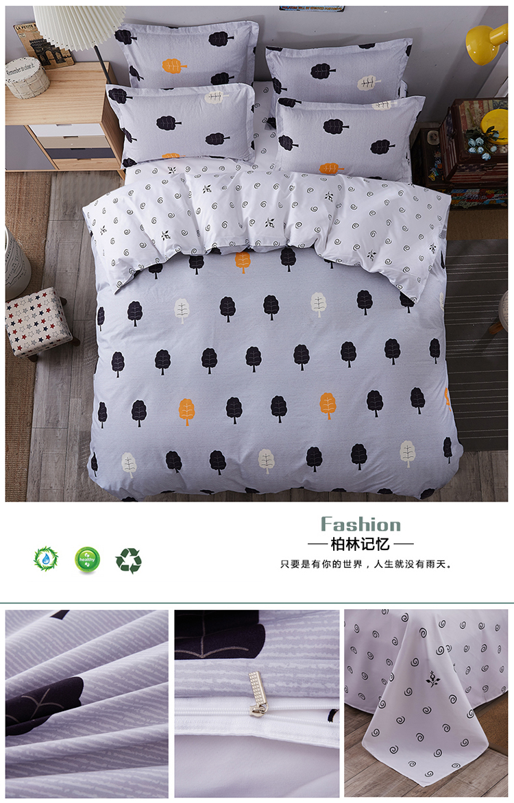 cotton nordic style bedding set 3pcs quilt cover blue and white geometric duvet cover queen. Black Bedroom Furniture Sets. Home Design Ideas