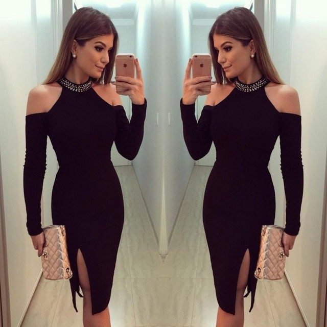 e0f8a5bd6a3d Black long sleeve cut out bandage women dress lady's sexy bodycon elastic  celebrity style bandage dress