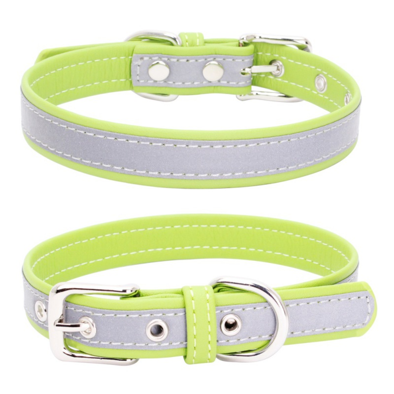 Dog Collar Reflective Pu Leather Collars For Dogs Necklace Pet Products For Animals Supplies XS S M L