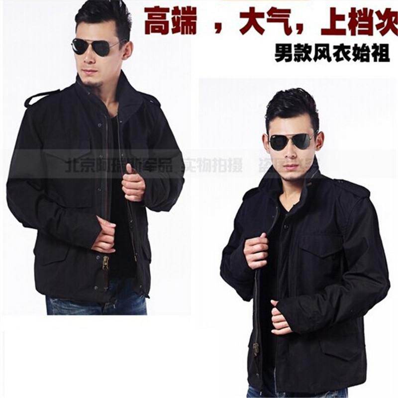 ФОТО American M65 windbreaker jacket Korean men's windbreaker jacket black combat military version of the Green men jacket