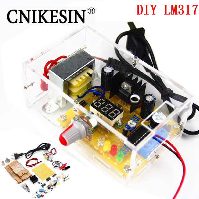 CNIKESIN DIY Kit LM317 Adjustable Regulated Voltage 220V to 1.25V-12.5V Step-down Power Supply Module PCB Board Electronic kits